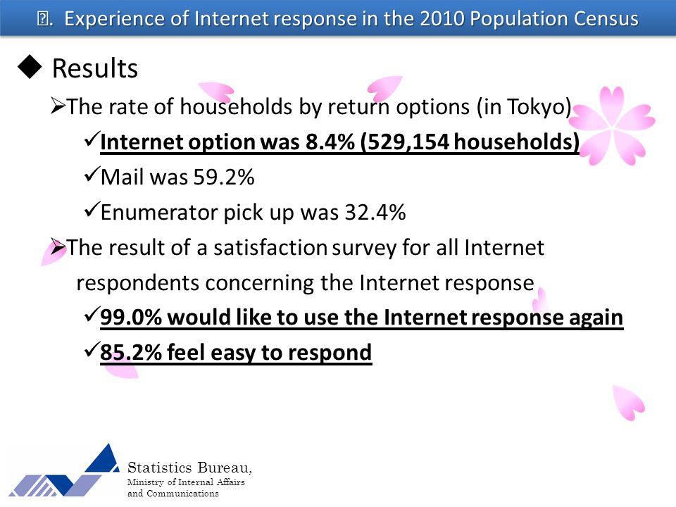 Statistics Bureau, Ministry of Internal Affairs and Communications Results The rate of households by return options (in Tokyo) Internet option was 8.4% (529,154 households) Mail was 59.2% Enumerator pick up was 32.4% The result of a satisfaction survey for all Internet respondents concerning the Internet response 99.0% would like to use the Internet response again 85.2% feel easy to respond.