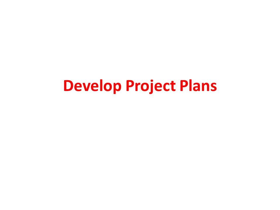 Develop Project Plans