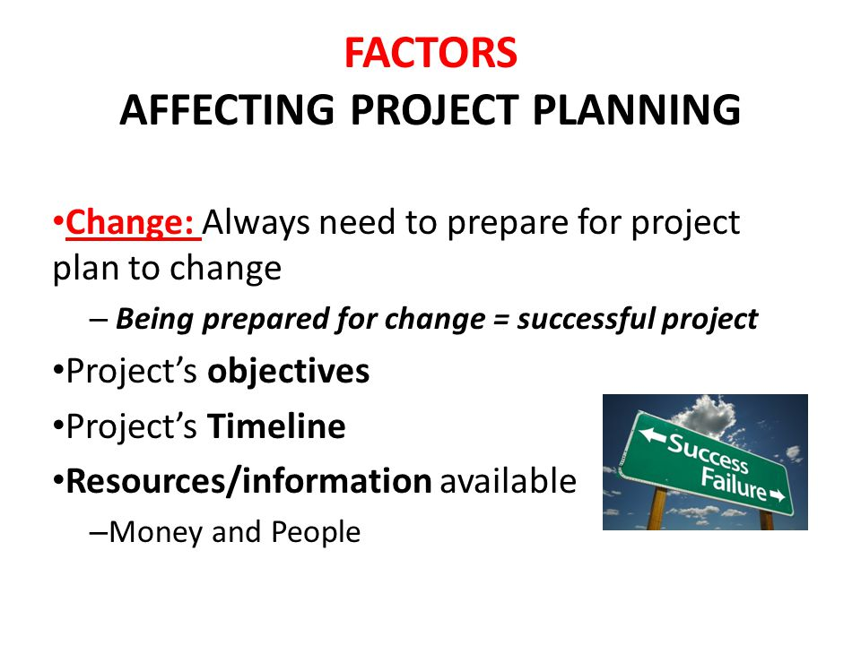 FACTORS AFFECTING PROJECT PLANNING Change: Always need to prepare for project plan to change – Being prepared for change = successful project Projects objectives Projects Timeline Resources/information available – Money and People