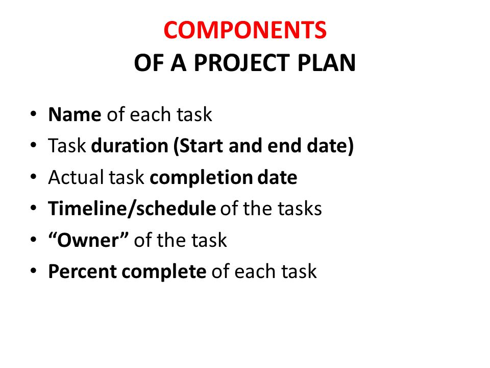 COMPONENTS OF A PROJECT PLAN Name of each task Task duration (Start and end date) Actual task completion date Timeline/schedule of the tasks Owner of the task Percent complete of each task