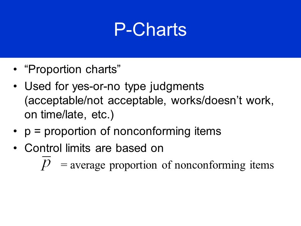 P Fraction Defective Chart Proportion charts Used for yes-or-no type judgments (acceptable/not acceptable, works/doesnt work, on time/late, etc.) p =