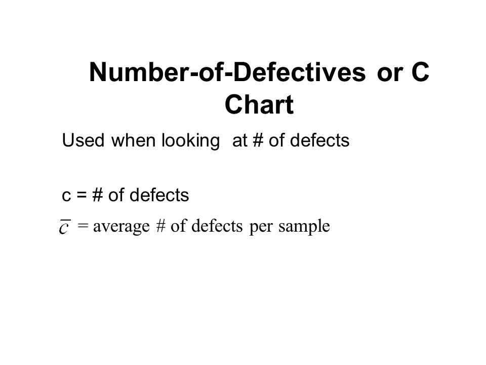 Number-of-Defectives or C Chart Used when looking at # of defects c = # of defects = average # of defects per sample
