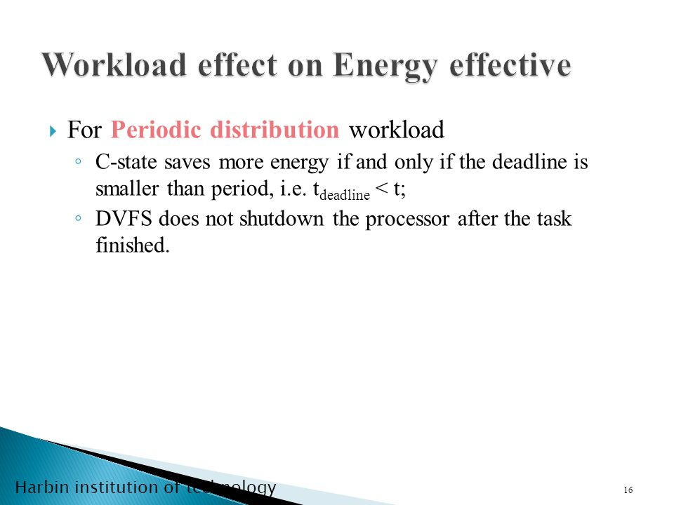 Harbin institution of technology 16 For Periodic distribution workload C-state saves more energy if and only if the deadline is smaller than period, i