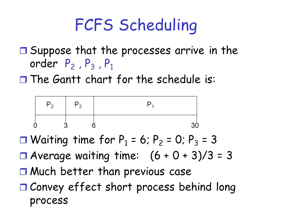 FCFS Scheduling r Suppose that the processes arrive in the order P 2, P 3, P 1 r The Gantt chart for the schedule is: r Waiting time for P 1 = 6; P 2