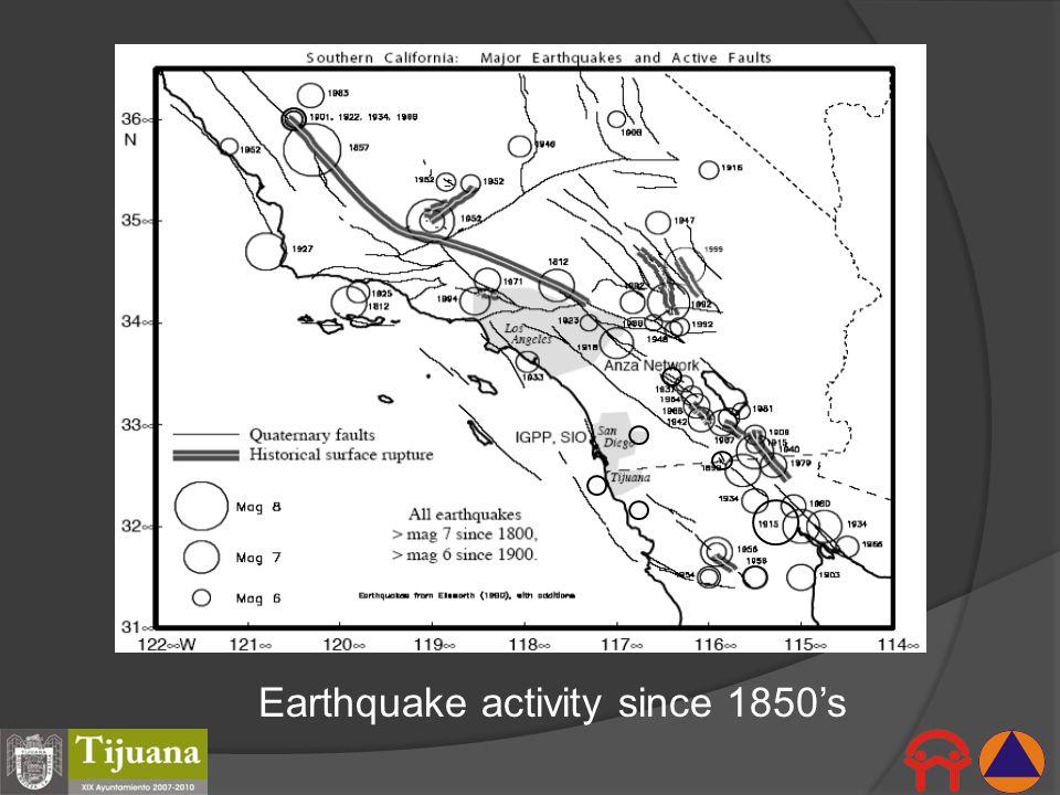 Earthquake activity since 1850s