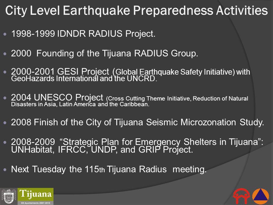 City Level Earthquake Preparedness Activities 1998-1999 IDNDR RADIUS Project. 2000 Founding of the Tijuana RADIUS Group. 2000-2001 GESI Project ( Glob
