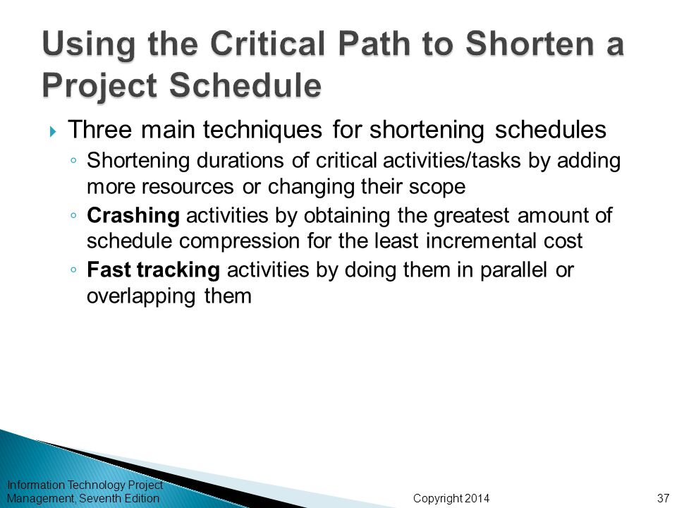 Copyright 2014 Information Technology Project Management, Seventh Edition Three main techniques for shortening schedules Shortening durations of criti