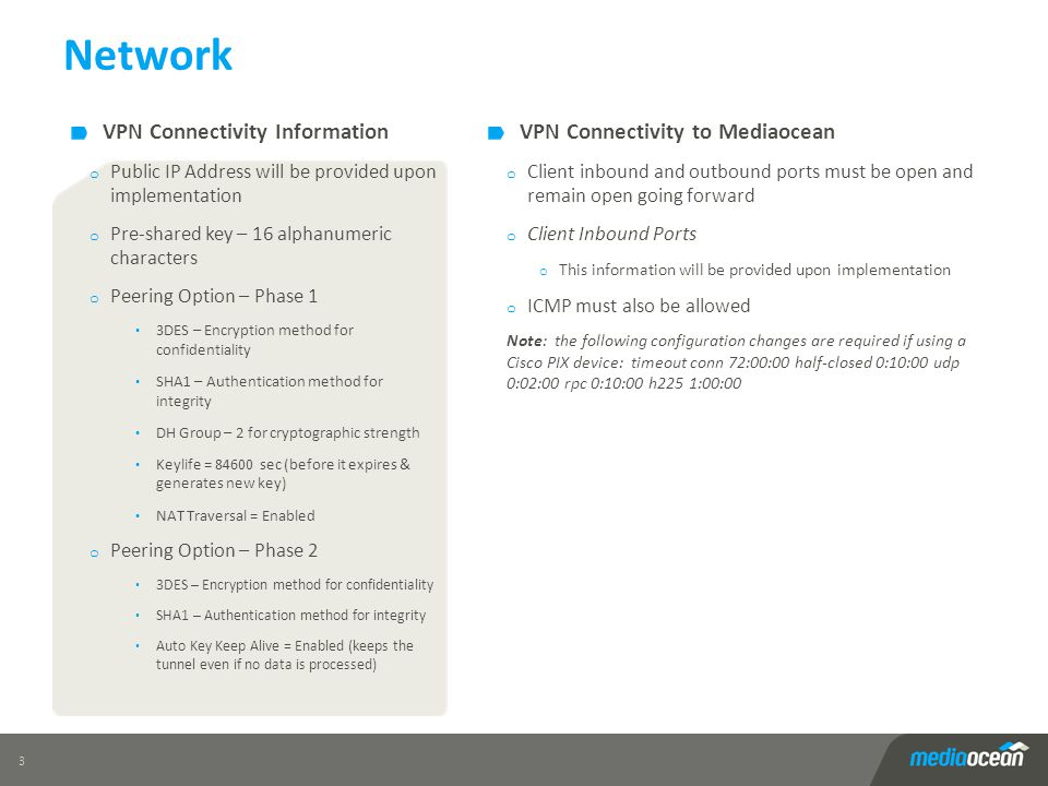 Network 3 VPN Connectivity to Mediaocean o Client inbound and outbound ports must be open and remain open going forward o Client Inbound Ports o This