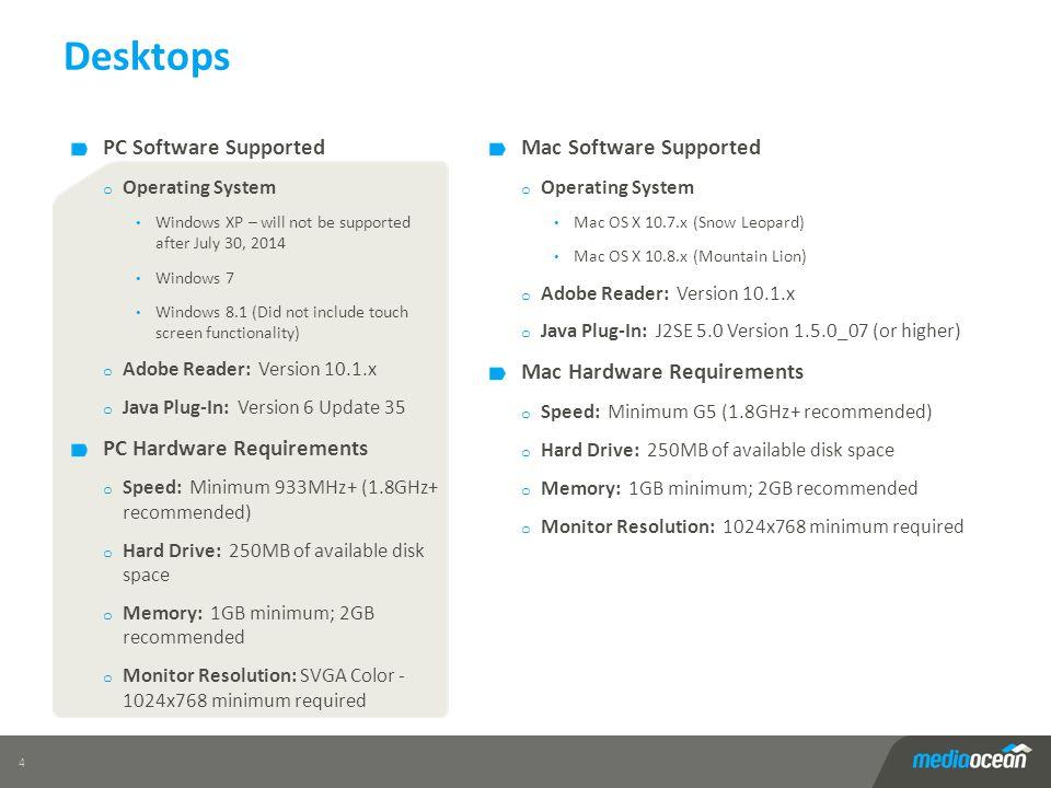 Desktops 4 Mac Software Supported o Operating System Mac OS X 10.7.x (Snow Leopard) Mac OS X 10.8.x (Mountain Lion) o Adobe Reader: Version 10.1.x o J