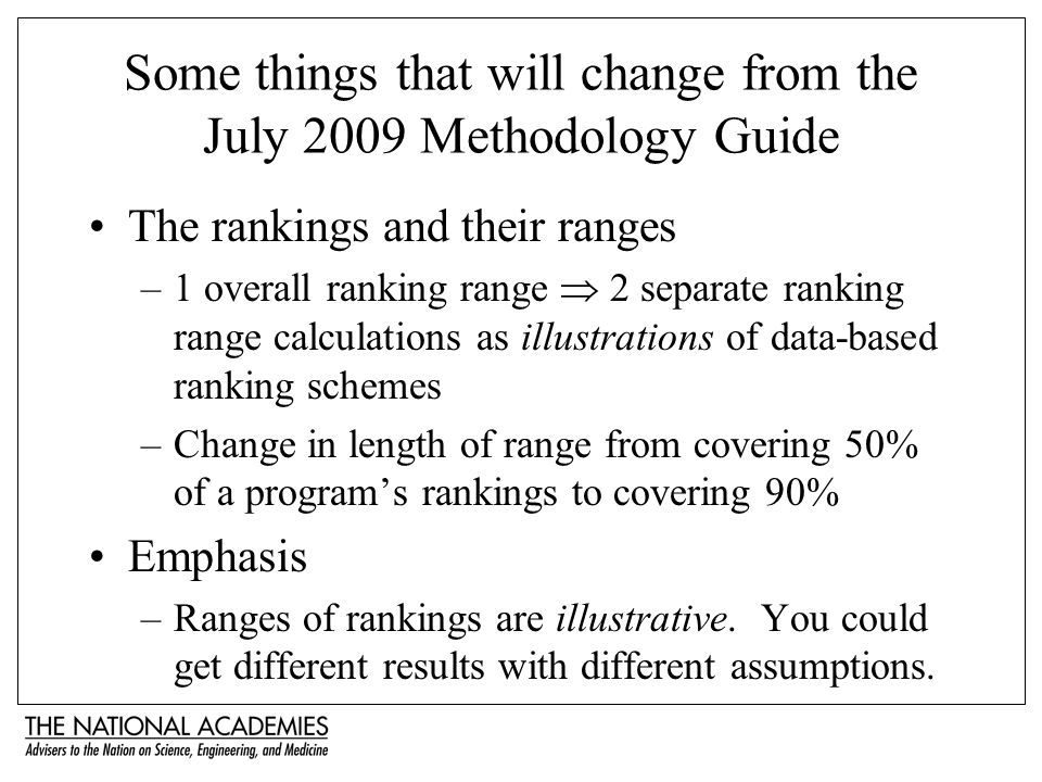 Some things that will change from the July 2009 Methodology Guide The rankings and their ranges –1 overall ranking range 2 separate ranking range calc