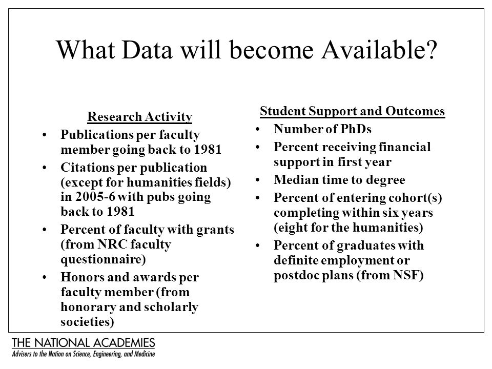 What Data will become Available? Research Activity Publications per faculty member going back to 1981 Citations per publication (except for humanities