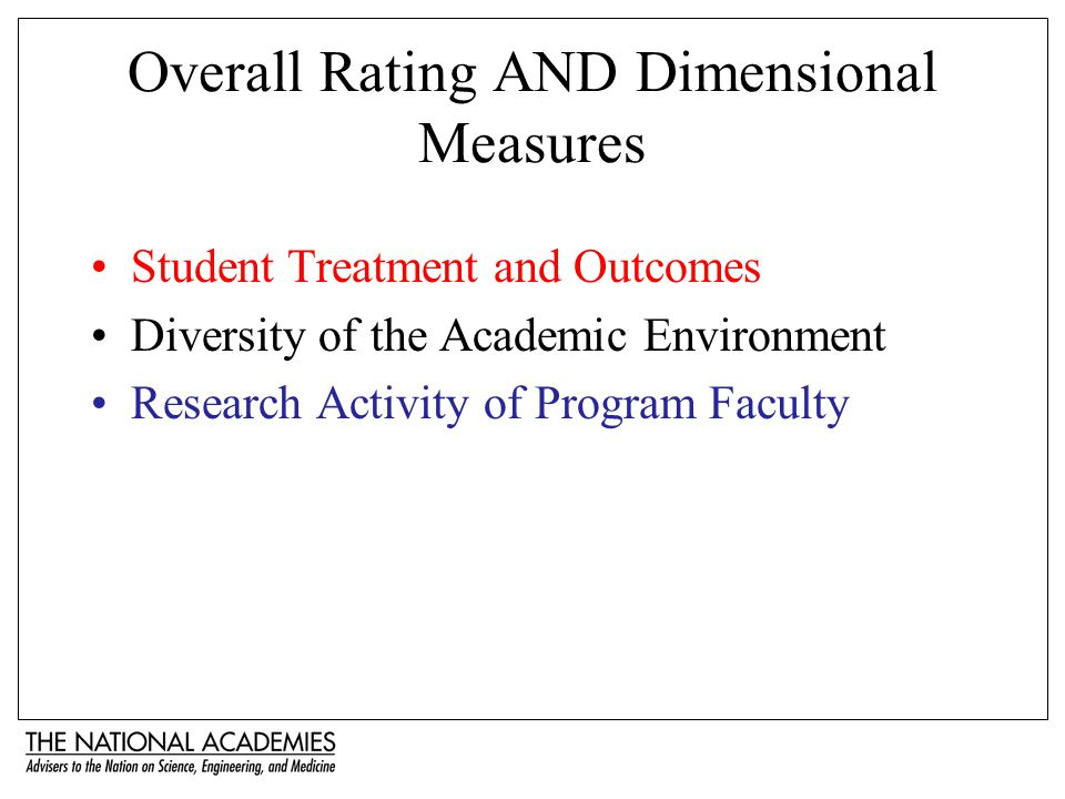 Overall Rating AND Dimensional Measures Student Treatment and Outcomes Diversity of the Academic Environment Research Activity of Program Faculty