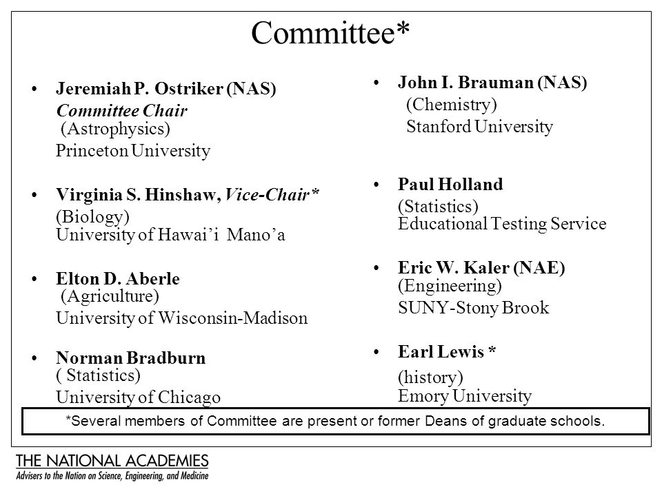 Committee* Jeremiah P. Ostriker (NAS) Committee Chair (Astrophysics) Princeton University Virginia S. Hinshaw, Vice-Chair* (Biology) University of Haw