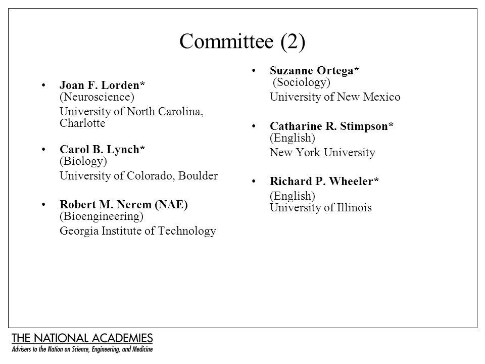 Committee (2) Joan F. Lorden* (Neuroscience) University of North Carolina, Charlotte Carol B.