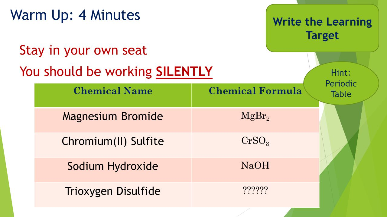 Warm Up: 4 Minutes Chemical NameChemical Formula Magnesium Bromide MgBr 2 Chromium(II) Sulfite CrSO 3 Sodium Hydroxide NaOH Trioxygen Disulfide .