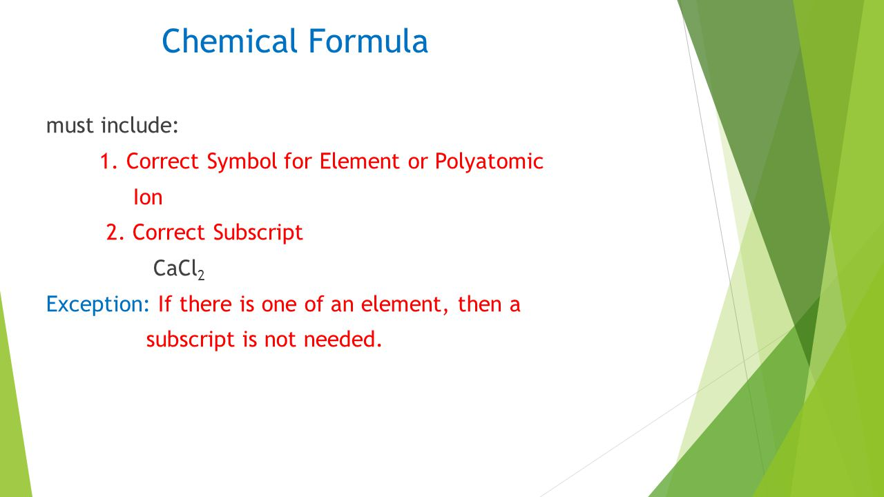Chemical Formula must include: 1. Correct Symbol for Element or Polyatomic Ion 2.