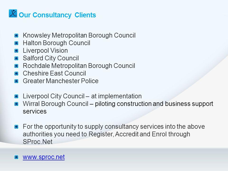 Our Consultancy Clients Knowsley Metropolitan Borough Council Halton Borough Council Liverpool Vision Salford City Council Rochdale Metropolitan Borou