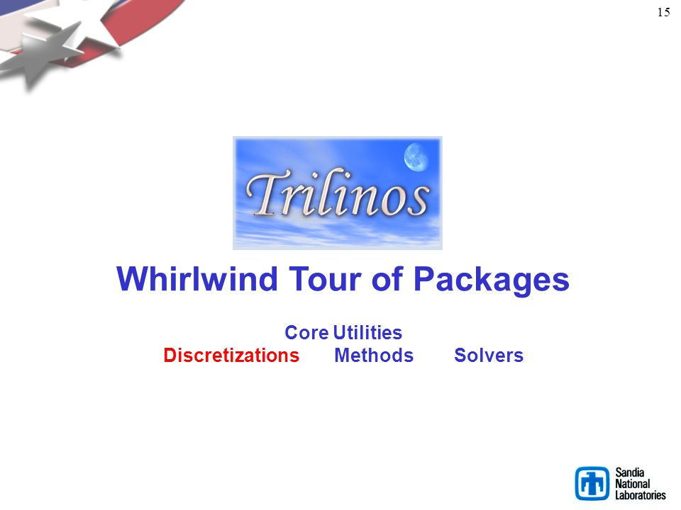 14 What Trilinos is not … Trilinos is not a single monolithic piece of software. Each package: Can be built independent of Trilinos. Has its own self-