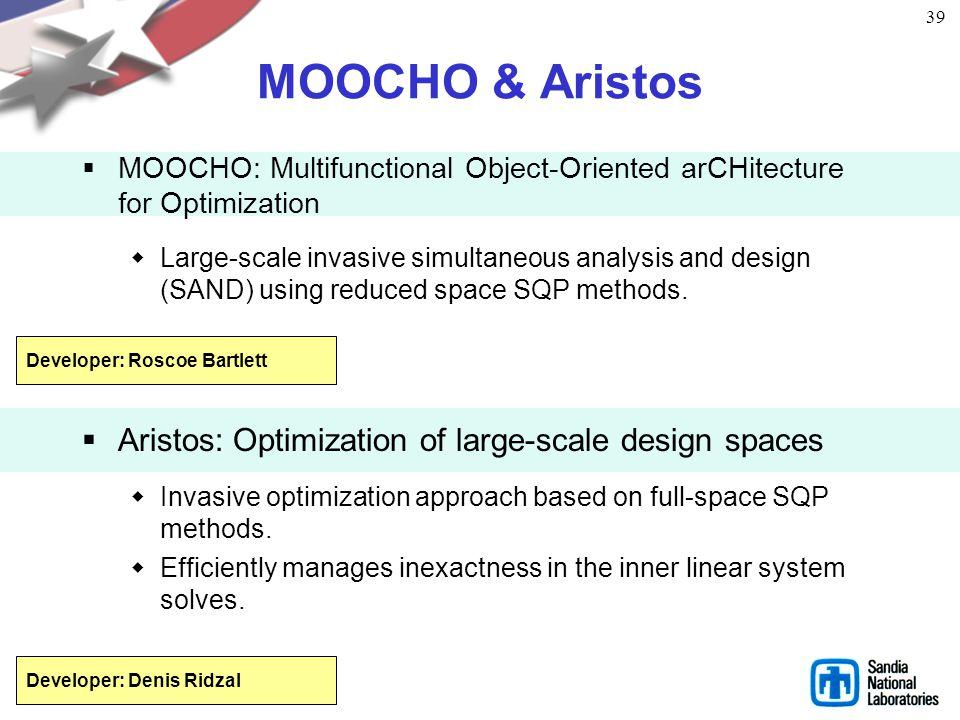 38 LOCA Library of continuation algorithms Provides Zero order continuation First order continuation Arc length continuation Multi-parameter continuat