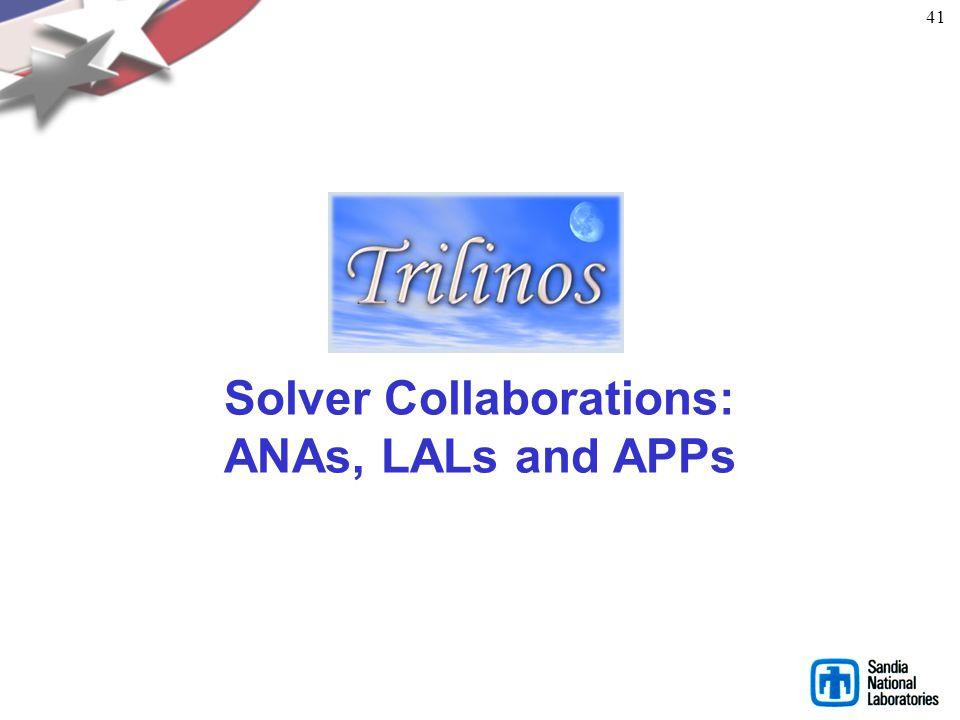 Full Vertical Solver Coverage Bifurcation Analysis LOCA DAEs/ODEs: Transient Problems Rythmos Eigen Problems: Linear Equations: Linear Problems AztecO