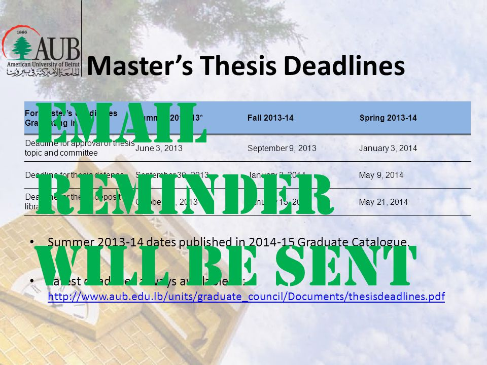 Masters Thesis Deadlines For Masters candidates Graduating in Summer 2012-13*Fall 2013-14Spring 2013-14 Deadline for approval of thesis topic and comm