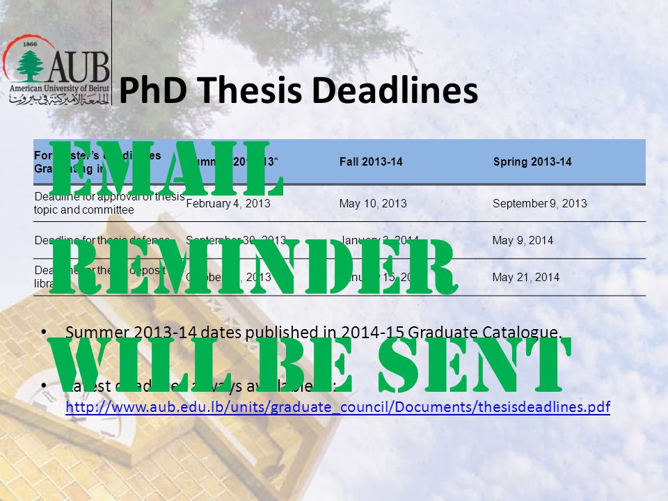 PhD Thesis Deadlines For Masters candidates Graduating in Summer 2012-13*Fall 2013-14Spring 2013-14 Deadline for approval of thesis topic and committe