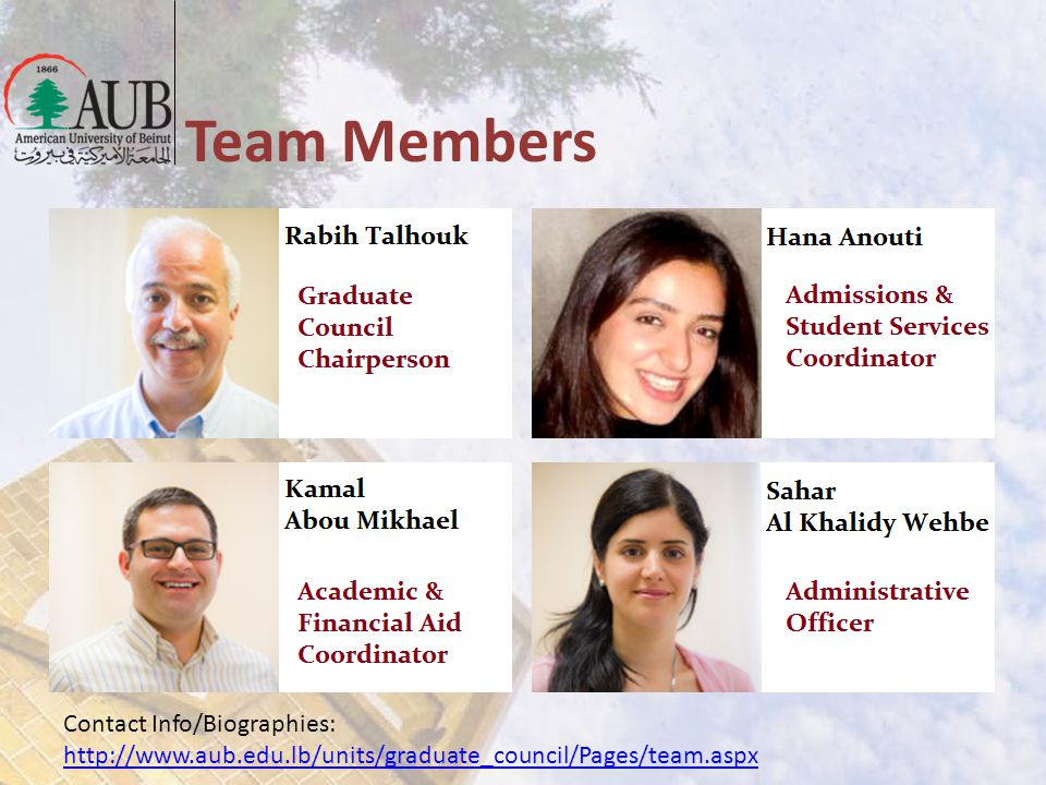 Team Members Contact Info/Biographies: http://www.aub.edu.lb/units/graduate_council/Pages/team.aspx http://www.aub.edu.lb/units/graduate_council/Pages