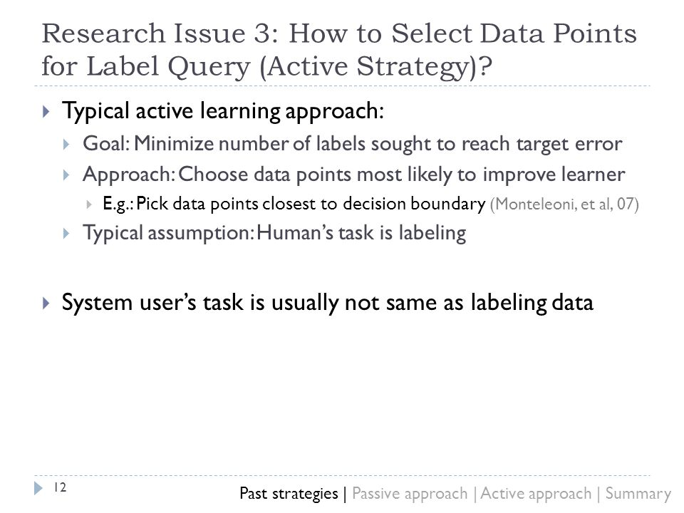 Research Issue 3: How to Select Data Points for Label Query (Active Strategy).