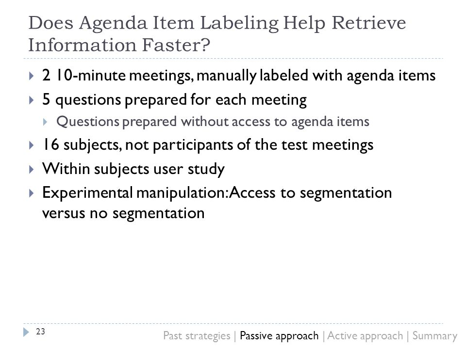 Does Agenda Item Labeling Help Retrieve Information Faster.