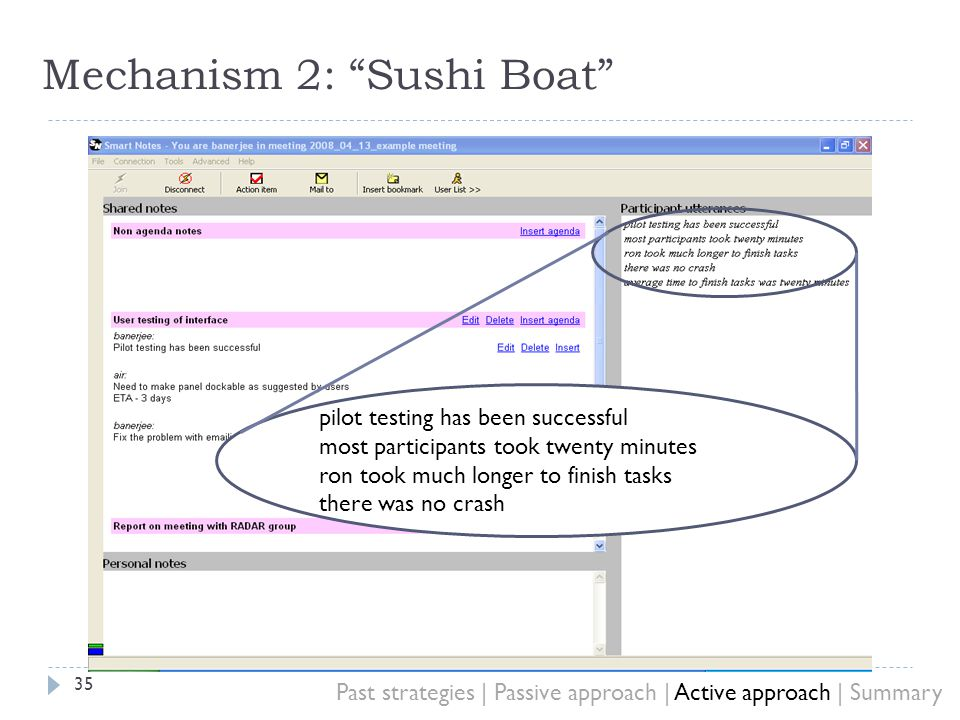 Mechanism 2: Sushi Boat 35 pilot testing has been successful most participants took twenty minutes ron took much longer to finish tasks there was no crash Past strategies | Passive approach | Active approach | Summary