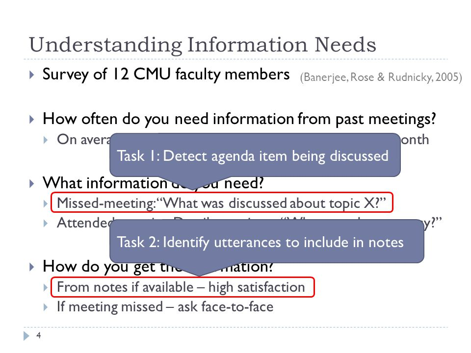 Shown So Far 25 Method of extracting meeting segments labeled with agenda item from note taking Resulting data produces high quality segmentation Likely to help participants retrieve information faster Next: Learn to label meetings that dont have notes Past strategies   Passive approach   Active approach   Summary