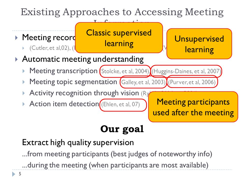 Thesis Success Criteria 46 Show agenda item labeling improves with labeled data automatically extracted from notes Show participants can retrieve information faster Show noteworthy utterance detection improves with actively extracted labeled data Show participants retrieve information faster Past strategies   Passive approach   Active approach   Summary