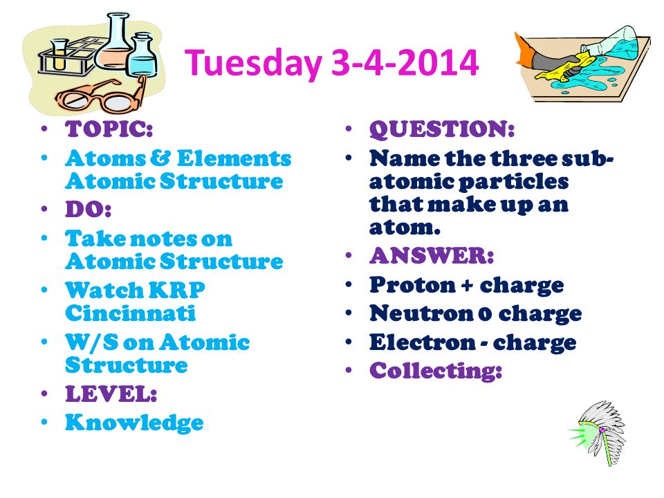 Tuesday 3-4-2014 TOPIC: Atoms & Elements Atomic Structure DO: Take notes on Atomic Structure Watch KRP Cincinnati W/S on Atomic Structure LEVEL: Knowl