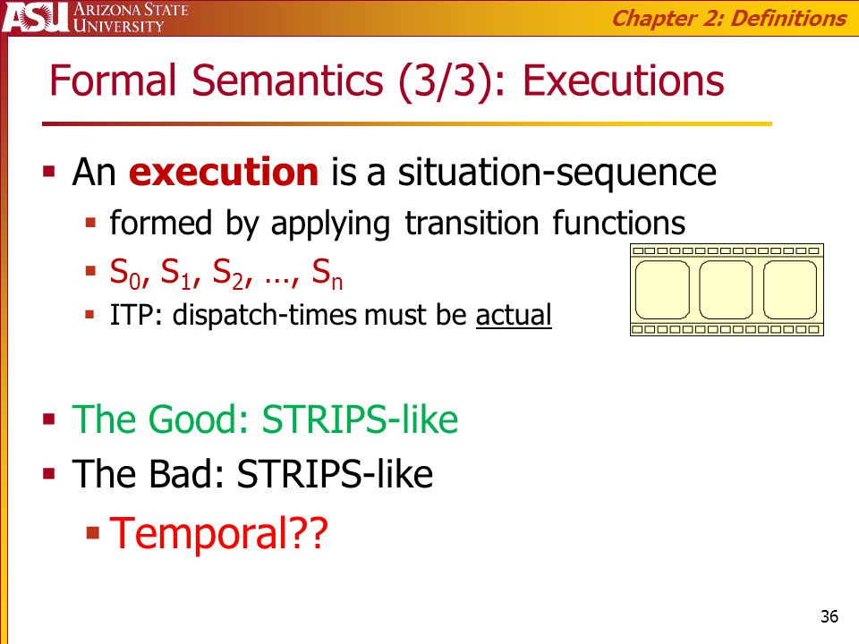 Formal Semantics (3/3): Executions An execution is a situation-sequence formed by applying transition functions S 0, S 1, S 2, …, S n ITP: dispatch-times must be actual The Good: STRIPS-like The Bad: STRIPS-like Temporal .