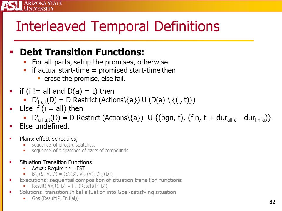 Interleaved Temporal Definitions Debt Transition Functions: For all-parts, setup the promises, otherwise if actual start-time = promised start-time then erase the promise, else fail.