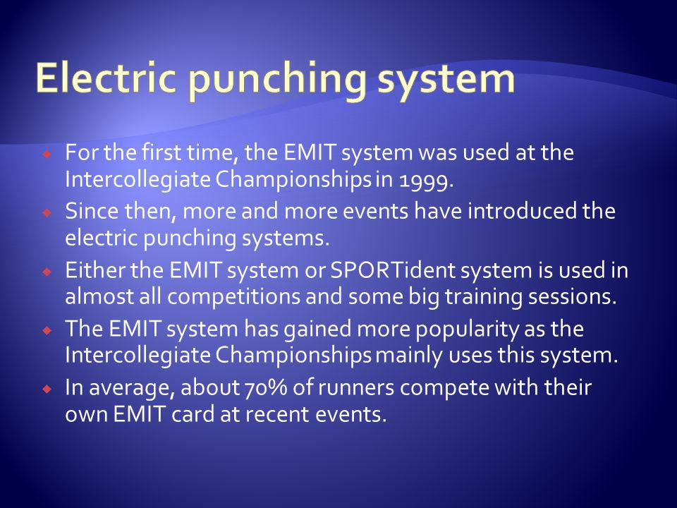 For the first time, the EMIT system was used at the Intercollegiate Championships in 1999.