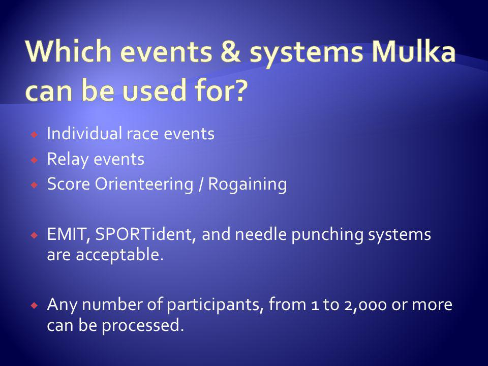Individual race events Relay events Score Orienteering / Rogaining EMIT, SPORTident, and needle punching systems are acceptable.