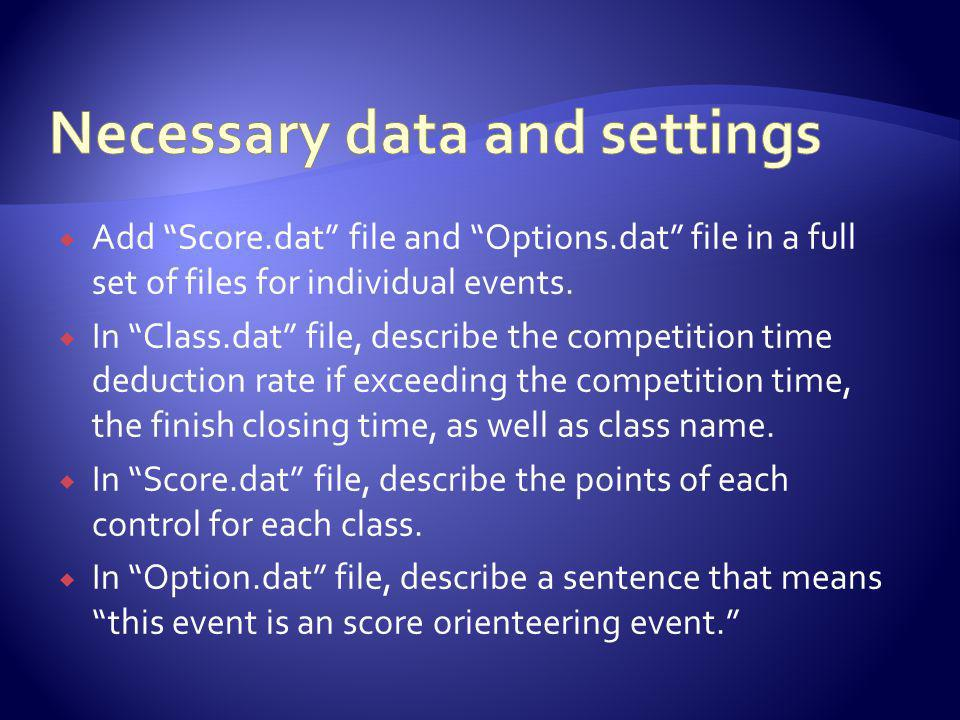Add Score.dat file and Options.dat file in a full set of files for individual events.