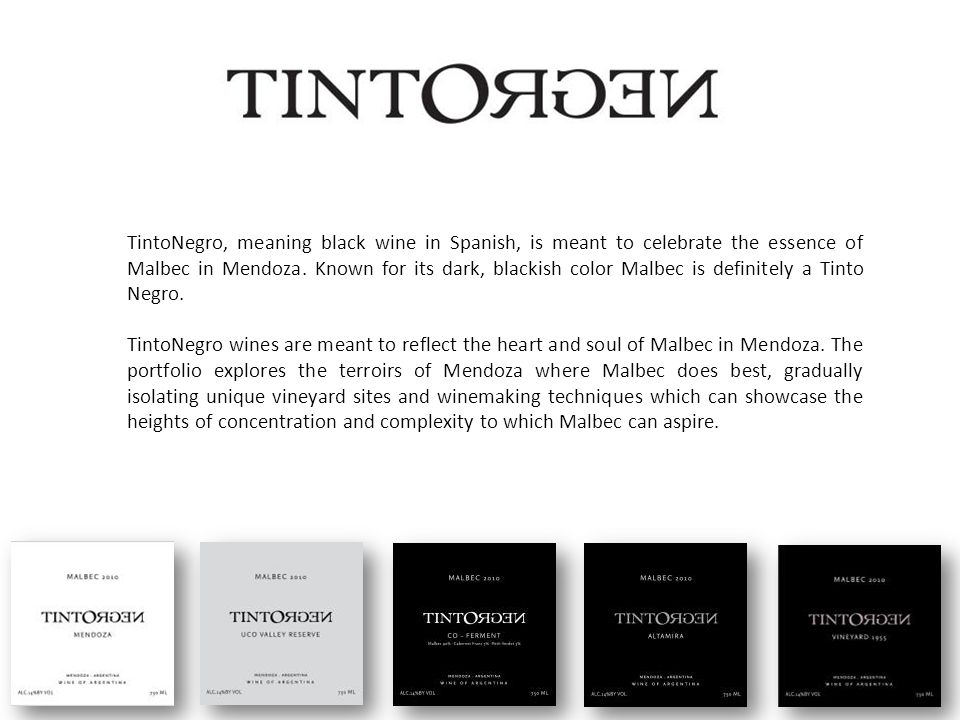 TintoNegro, meaning black wine in Spanish, is meant to celebrate the essence of Malbec in Mendoza.