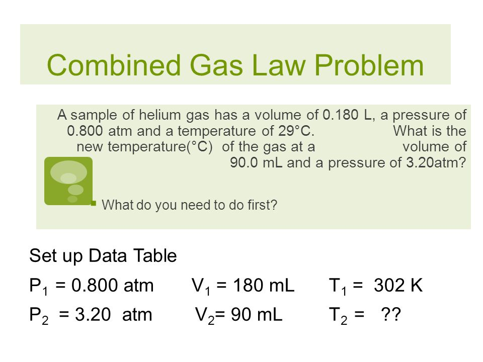 Combined Gas Law If you should only need one of the other gas laws, you can cover up the item that is constant and you will get that gas law! = P1P1 V
