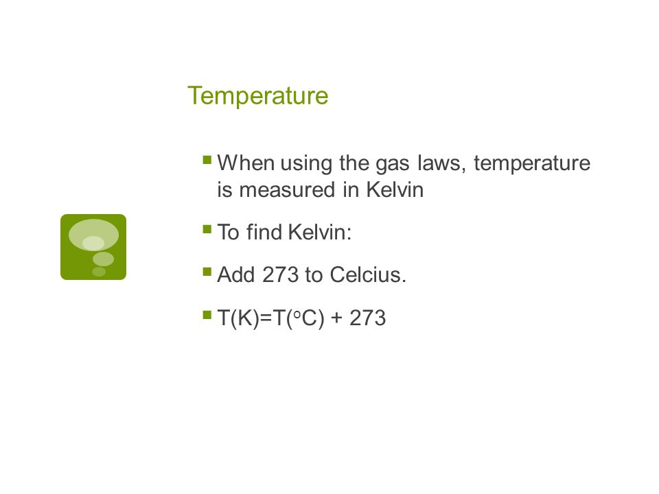 Measuring Gases When you are measuring a gas, you want to know four things about it: 1. n --Amount of the gas-this means in moles represented by the l