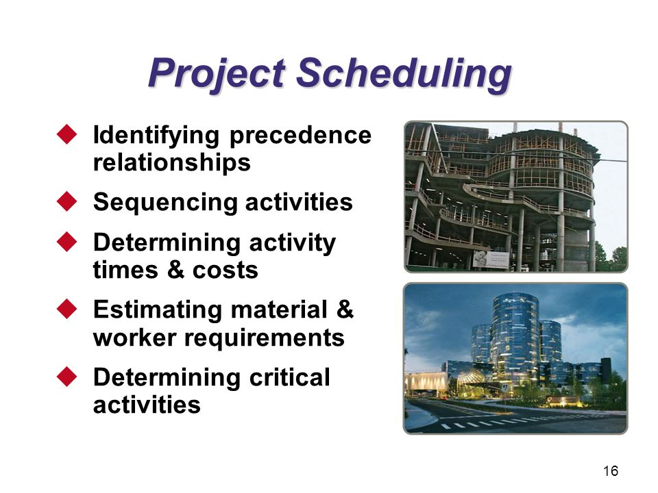 Project Scheduling Identifying precedence relationships Sequencing activities Determining activity times & costs Estimating material & worker requirem