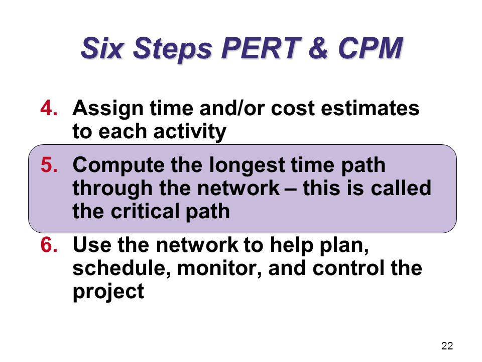 Six Steps PERT & CPM 4.Assign time and/or cost estimates to each activity 5.Compute the longest time path through the network – this is called the cri