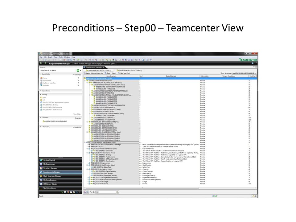 Preconditions – Step00 – Teamcenter View