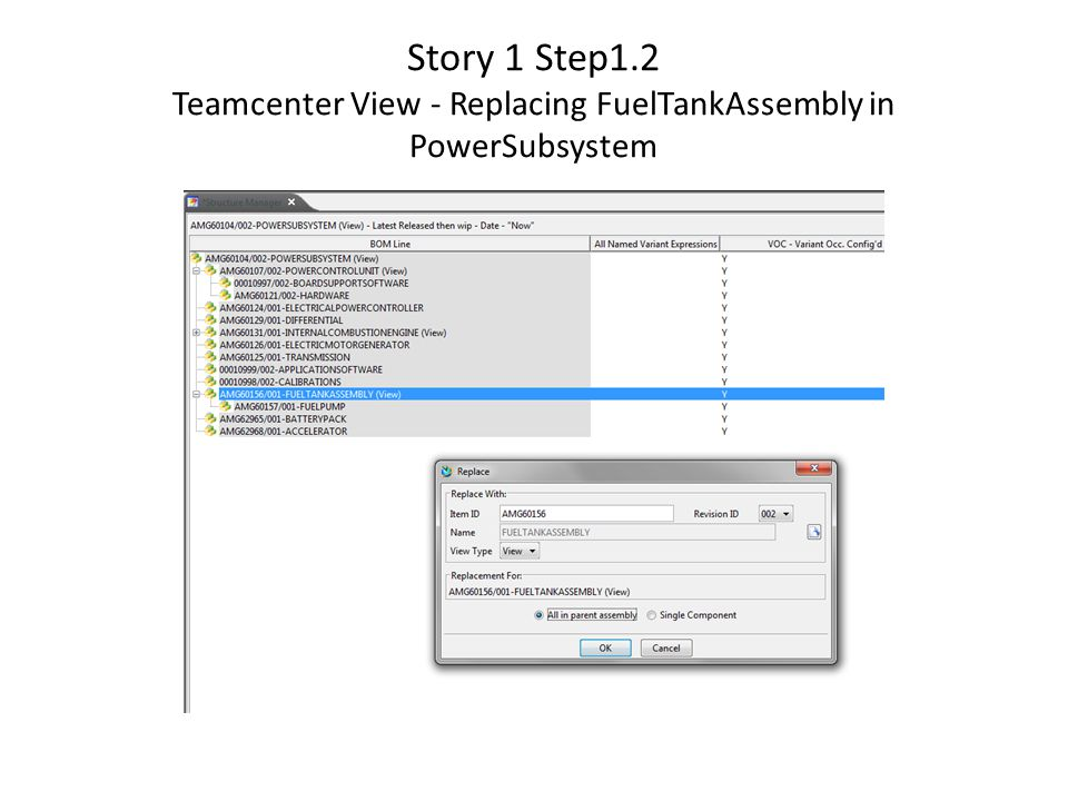 Story 1 Step1.2 Teamcenter View - Replacing FuelTankAssembly in PowerSubsystem