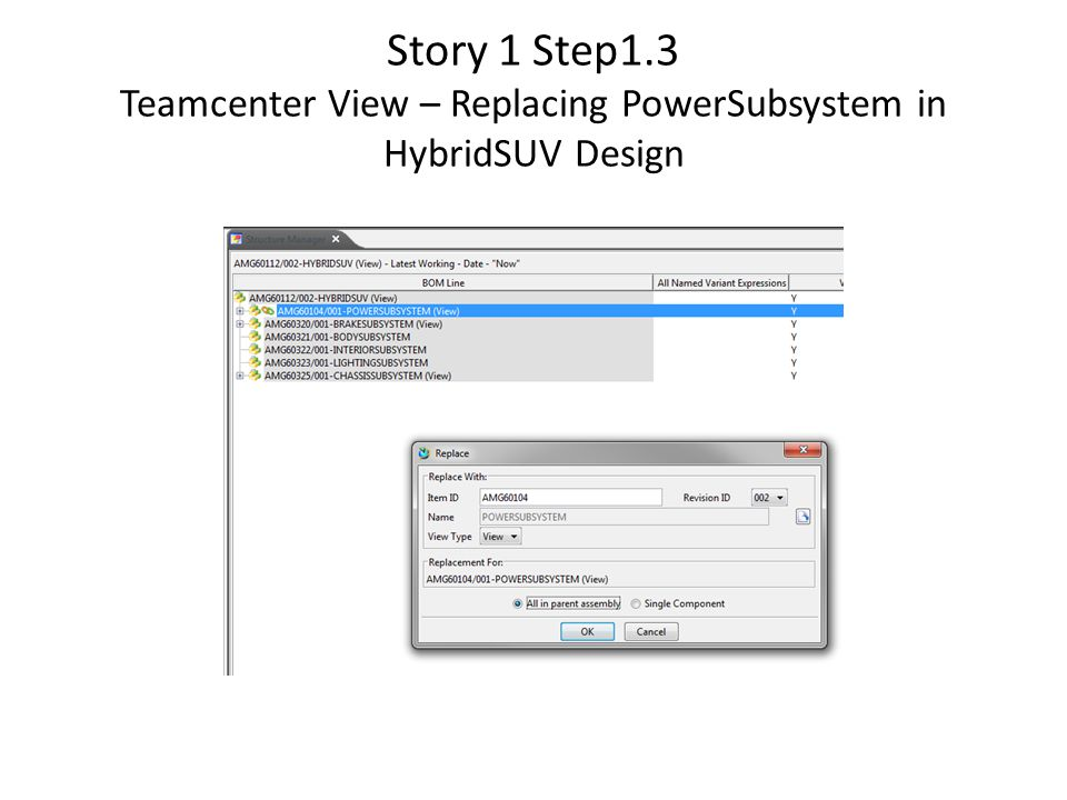 Story 1 Step1.3 Teamcenter View – Replacing PowerSubsystem in HybridSUV Design
