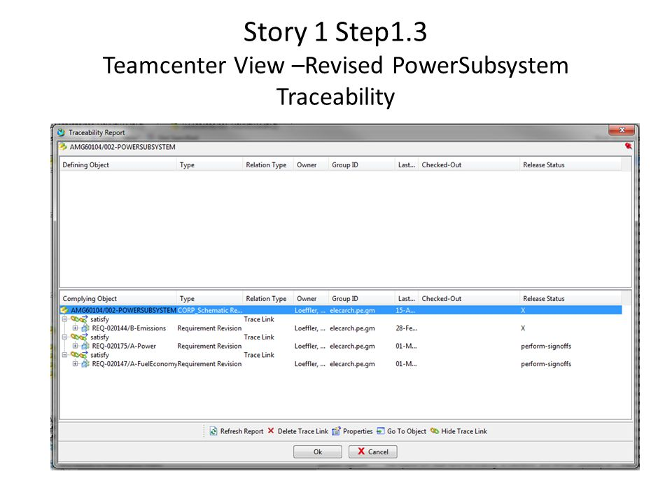 Story 1 Step1.3 Teamcenter View –Revised PowerSubsystem Traceability