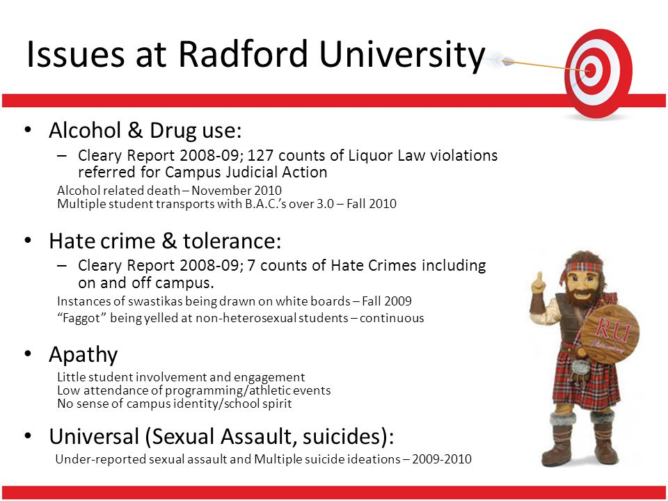 Issues at Radford University Alcohol & Drug use: – Cleary Report ; 127 counts of Liquor Law violations referred for Campus Judicial Action Alcohol related death – November 2010 Multiple student transports with B.A.C.s over 3.0 – Fall 2010 Hate crime & tolerance: – Cleary Report ; 7 counts of Hate Crimes including on and off campus.