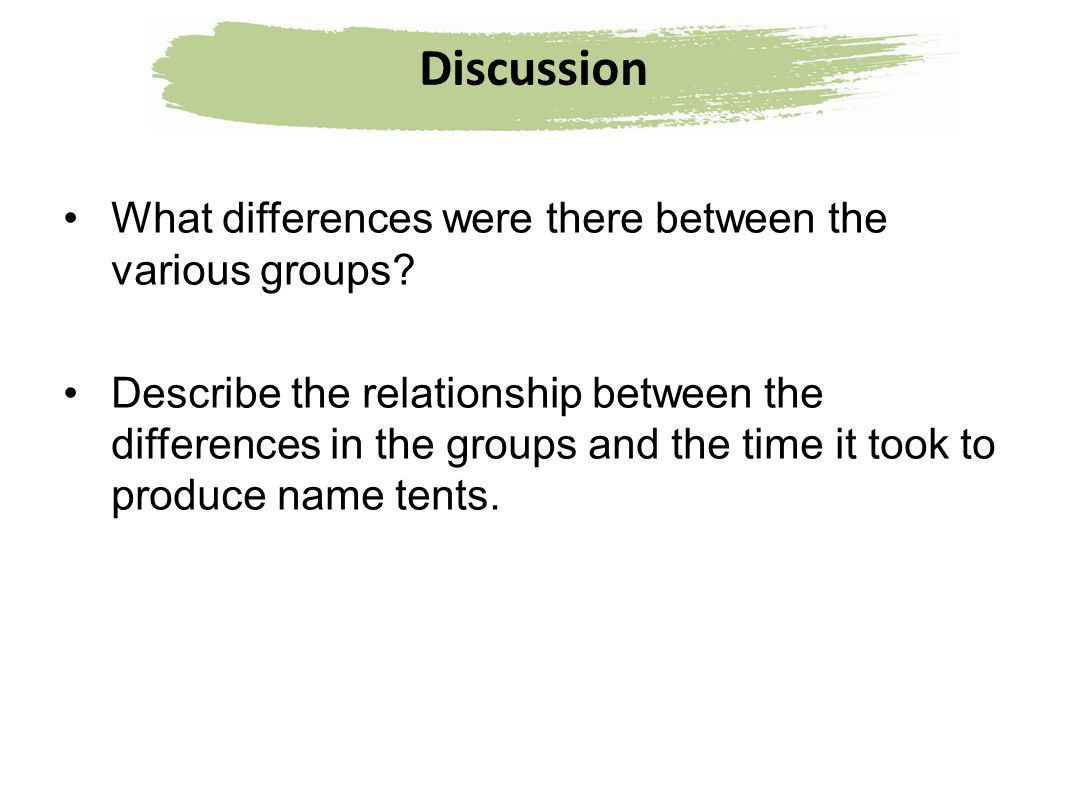 Discussion What differences were there between the various groups? Describe the relationship between the differences in the groups and the time it too