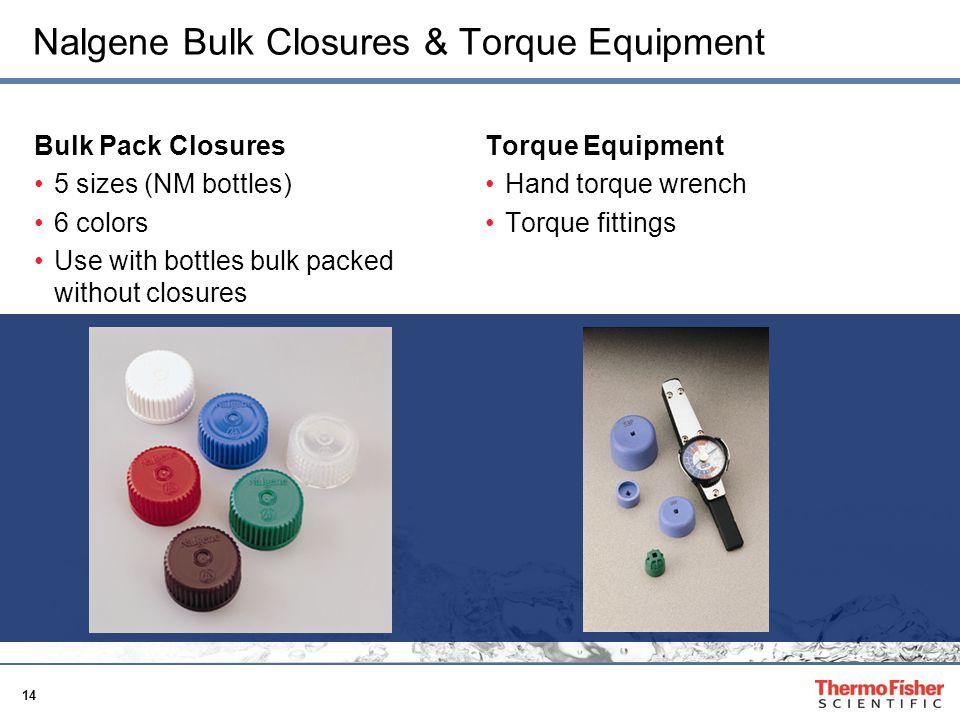 14 Nalgene Bulk Closures & Torque Equipment Bulk Pack Closures 5 sizes (NM bottles) 6 colors Use with bottles bulk packed without closures Torque Equi